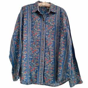 Liz Claiborne Denim Blouse Striped Floral Print L